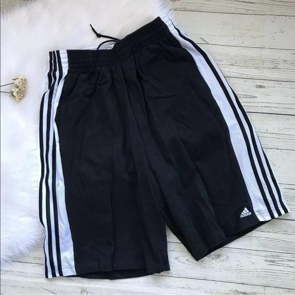 Adidas Cotton Jersey Shorts Black White Stripes